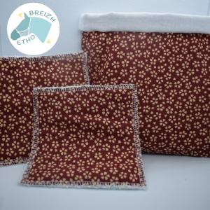 Lingettes réutilisables marron à fleur